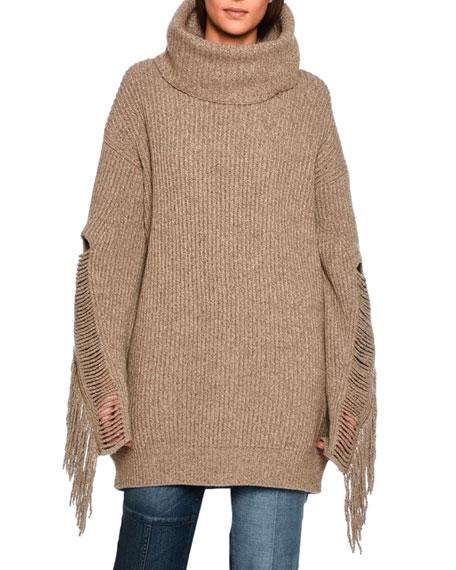 Stella McCartney Oversized Fringe-Trim Turtleneck Sweater, Light