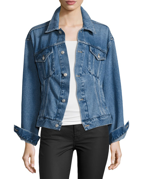 Ladies Medium Vintage Blue Like A Man Denim Jacket, Medium Blue