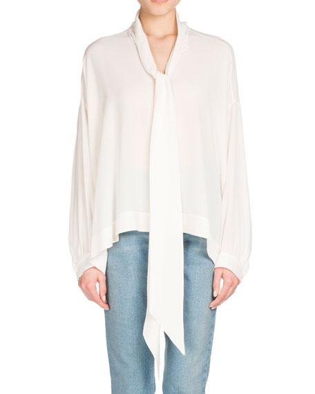 Long-Sleeve Silk Tie-Neck Top, White