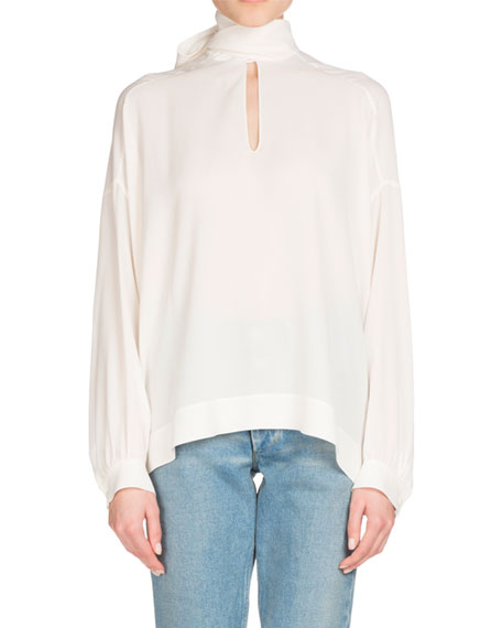 Long-Sleeve Silk Tie-Neck Top, White
