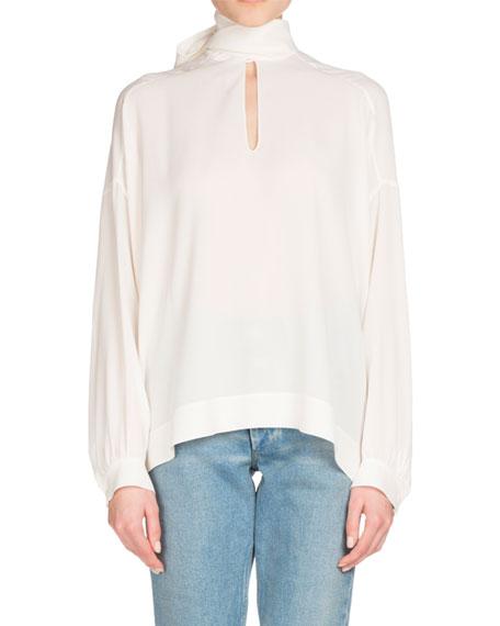 Balenciaga Long-Sleeve Silk Tie-Neck Top, White