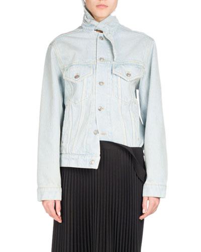 Stone-Wash Denim Jacket, Light Blue