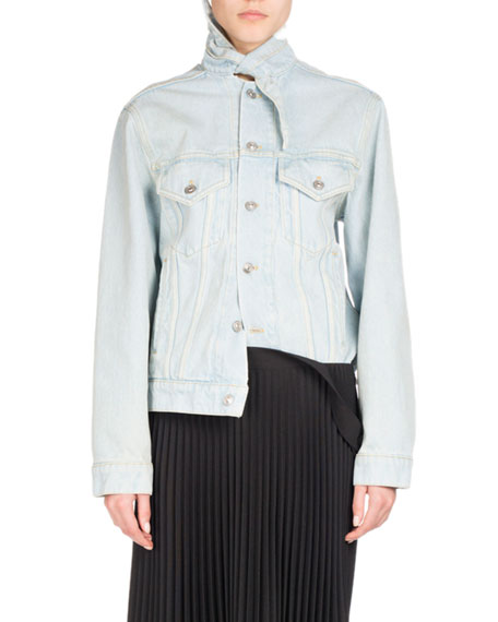 Stone-Wash Denim Jacket, Light Blue