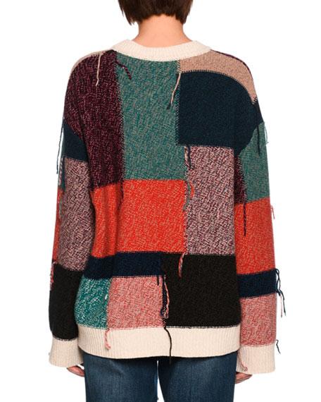 Colorblock Knit Wool Sweater, Multi Pattern