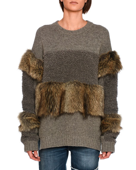 Faux-Fur Paneled Sweater, Gray