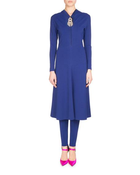 Zip-Front Jersey Crepe Skater Dress, Blue