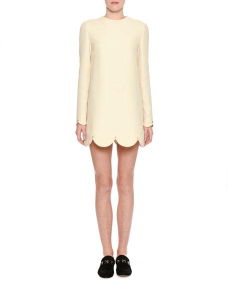 Valentino Long-Sleeve Scalloped Crepe Dress, Ivory