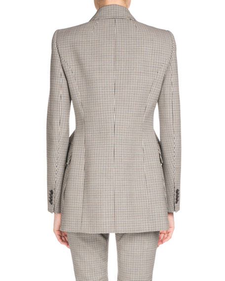Plaid Stretch-Wool Blazer, Multi