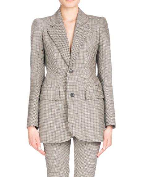 Plaid Stretch-Wool Blazer, Multi