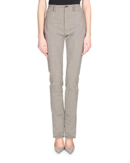 High-Waist Plaid Skinny Pants, Multi