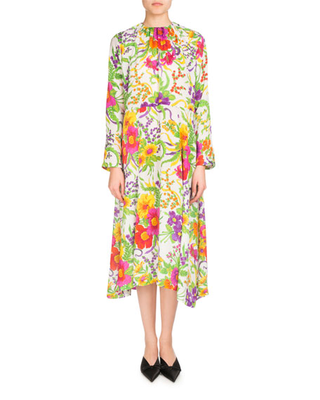 Grand Floral Jacquard Long-Sleeve Dress, White/Green