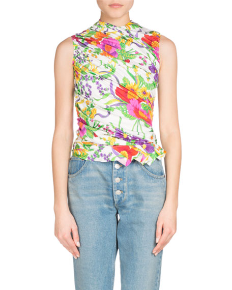 Ruched Sleeveless Floral-Print Top, White/Green