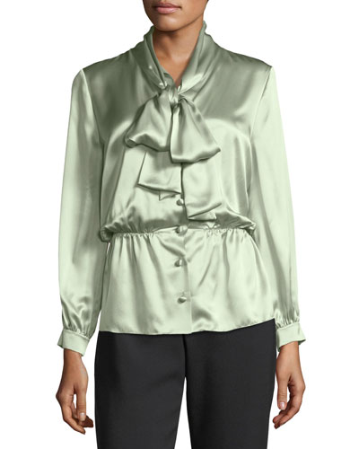 Fluid Satin Tie-Neck Blouse