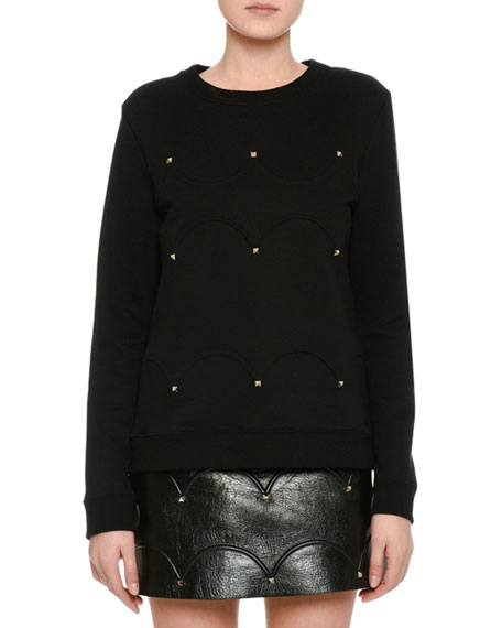 Scallop Studded Sweatshirt, Black