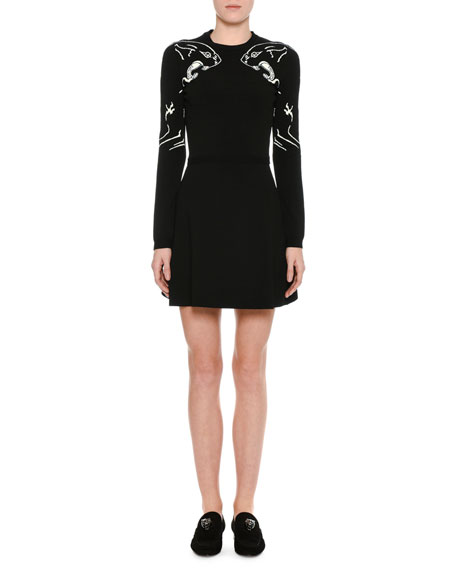 Panther-Embroidered Knit Dress, Black/White