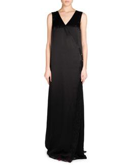 Sleeveless Fluid Satin Wrap Gown, Black