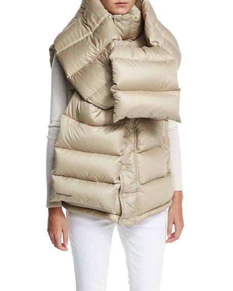 Oversized Quilted Down Vest w/Detachable Scarf