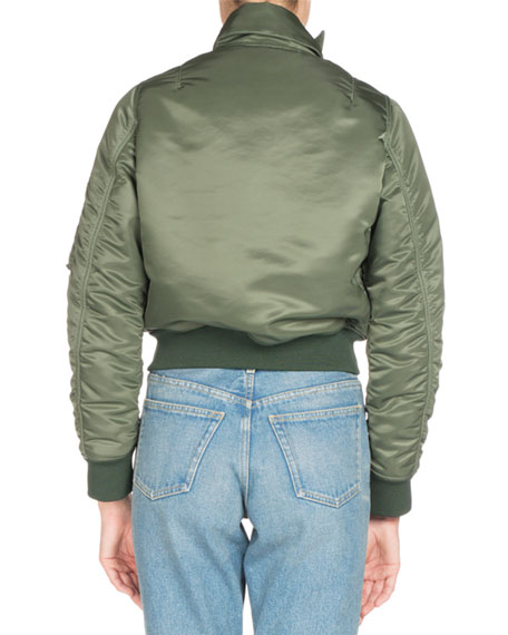 Shrunken Satin Bomber Jacket, Khaki