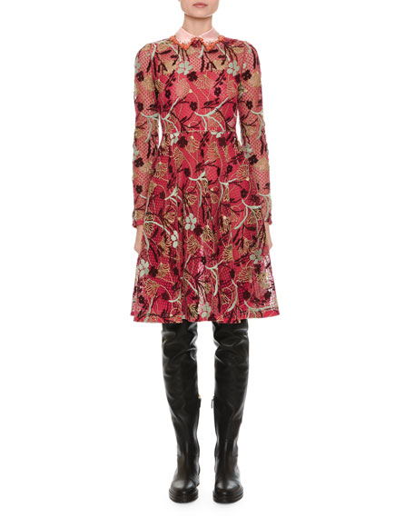 Macrame Lace Dress w/Embroidered Collar, Pink Pattern