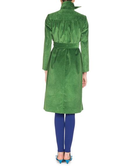 Scarf-Tie Velvet Coat, Green