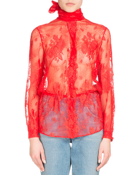 Lace Scarf-Tie Blouse, Red
