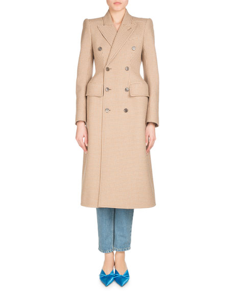 Double-Breasted Houndstooth Coat, Beige