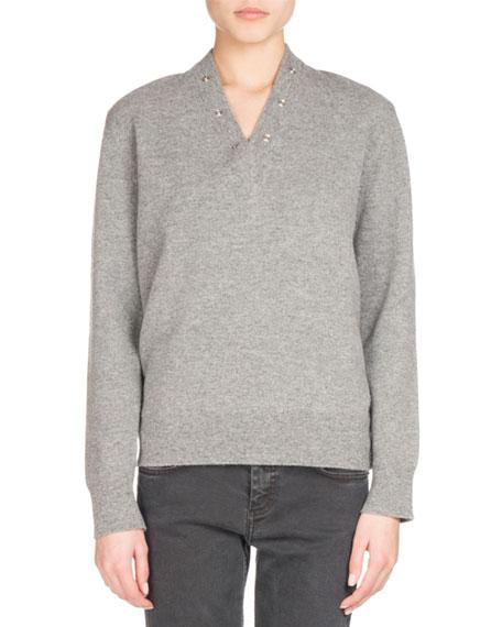Balenciaga Snap-Front Pullover Sweater, Gray