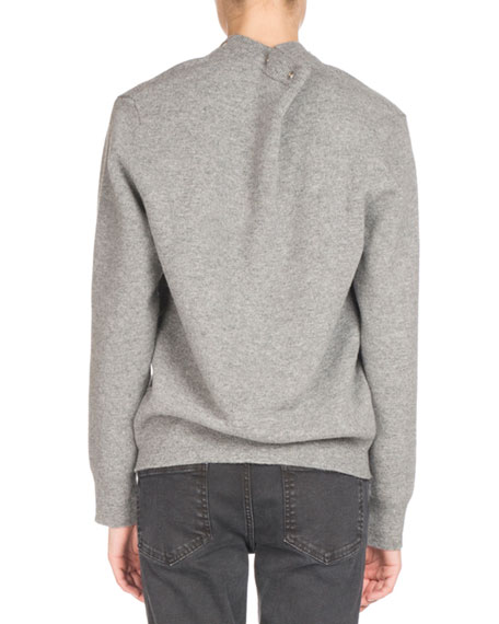 Snap-Front Pullover Sweater, Gray