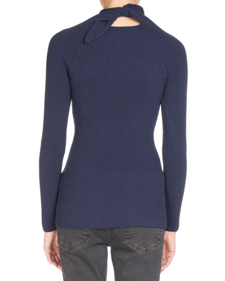 Ribbed Knit Scarf-Tie Sweater, Navy