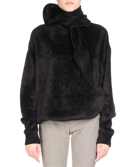 Hooded Velour Sweatshirt, Black (Noir)