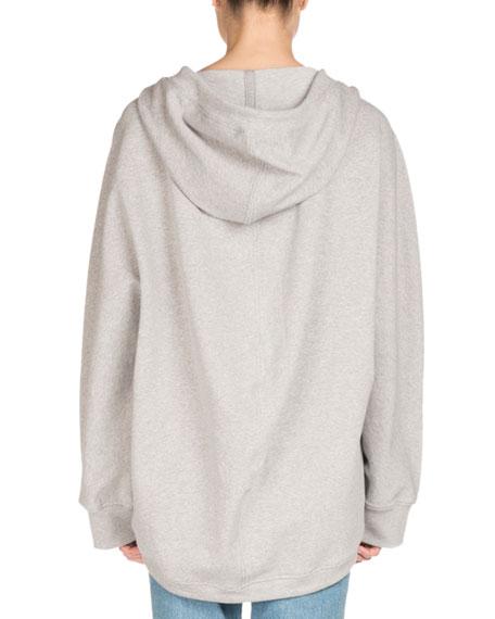 Hooded Zip-Front Cocoon Sweatshirt, Light Gray
