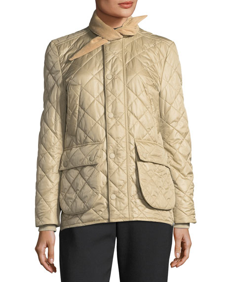 Quilted Tie-Neck Hunter Jacket