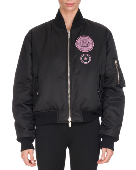 Patch-Embroidered Bomber Jacket, Black