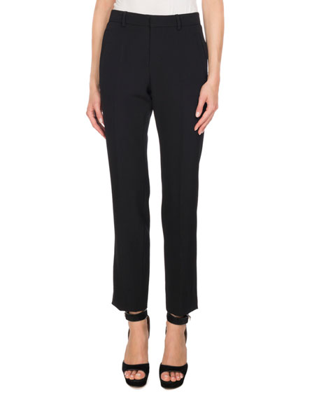 Cropped Wool Trousers, Black