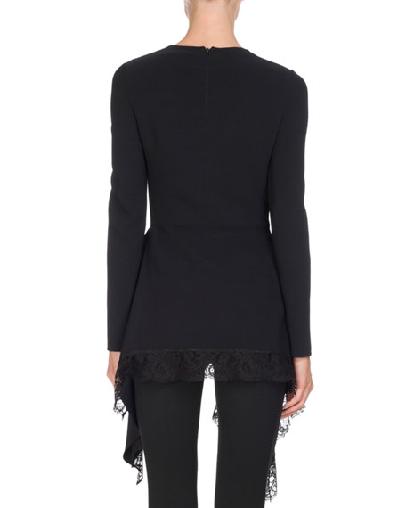 Long-Sleeve Cady Handkerchief Top, Black