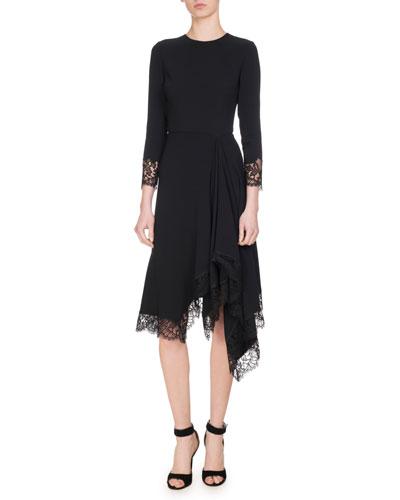 Lace-Trim Cady Dress, Black