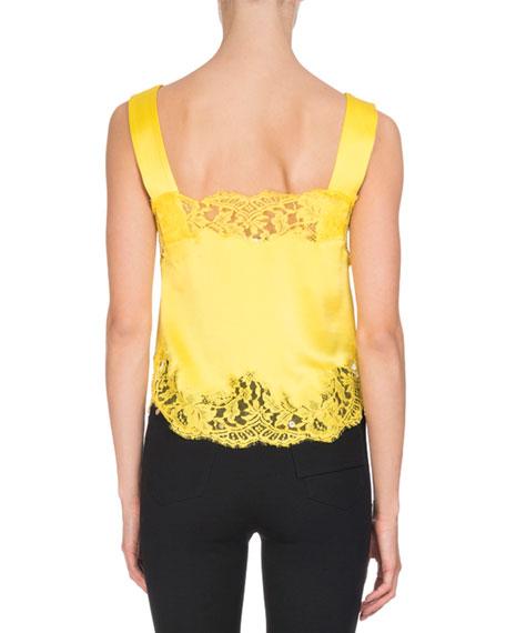 Lace-Trim Silk Cami Top, Yellow