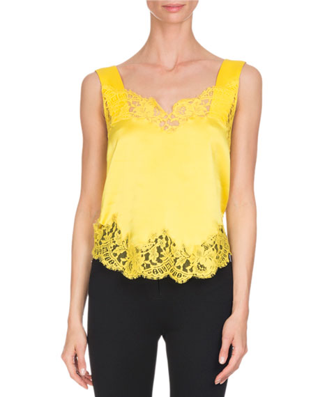 Lace-Trim Silk Cami Top, Yellow