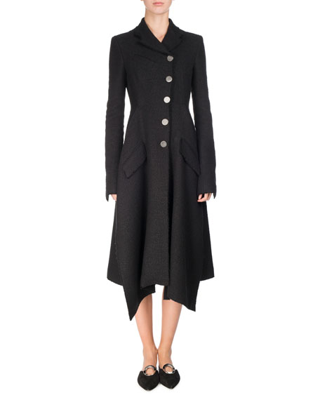 Asymmetric Notch-Collar Tweed Coat, Black