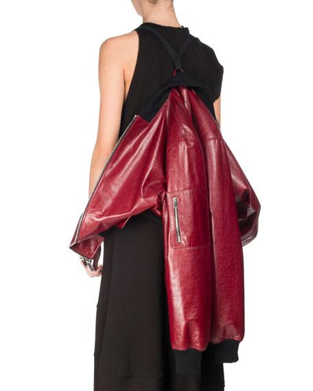 Shiny Leather Bomber Jacket, Red