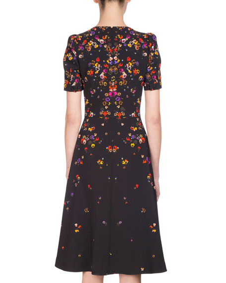 Anna Pansy-Print Midi Dress, Multi