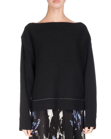 Off-Shoulder Double-Face Cashmere Sweater, Black/Blue