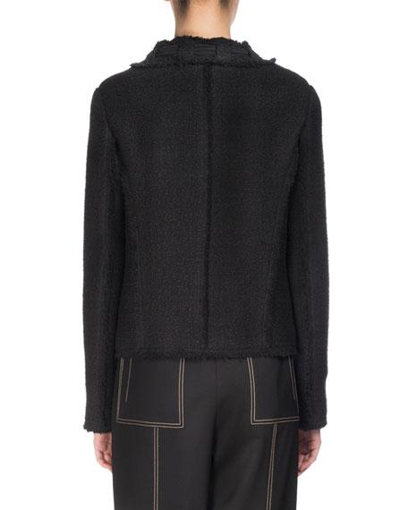 Tie-Neck Tweed Jacket, Black