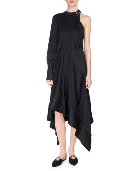 Asymmetric One-Sleeve Tie-Waist Dress, Black