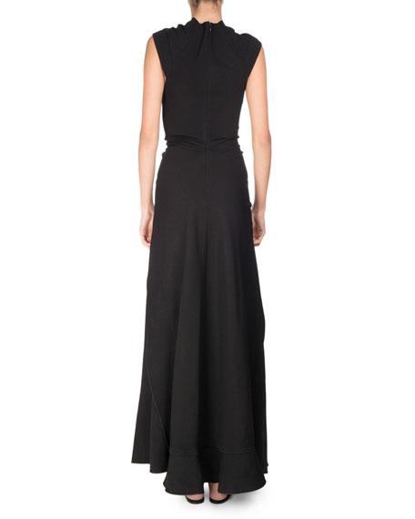 Cross-Front Tie-Waist Maxi Dress, Black