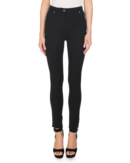 Five-Pocket Jersey Leggings, Black