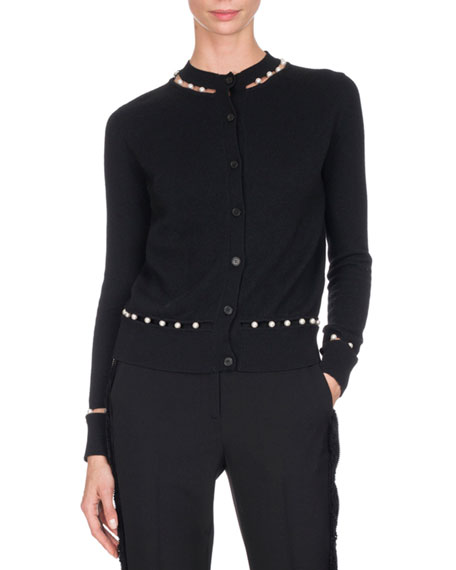 Faux-Pearly-Embellished Cardigan, Black