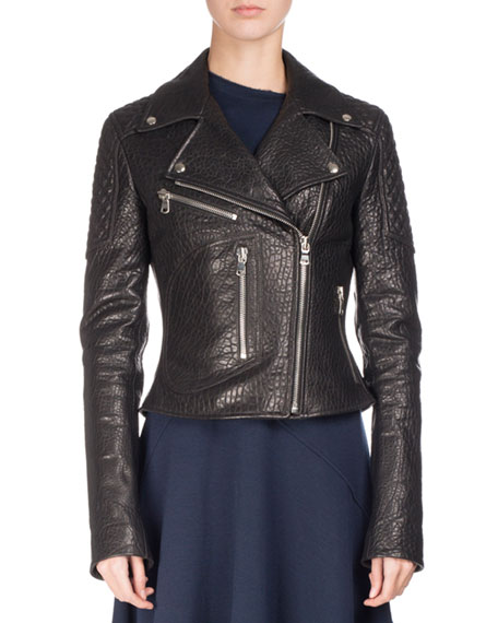 Proenza Schouler Textured Leather Motorcycle Jacket, Black