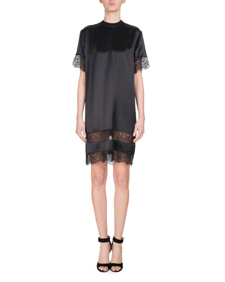 Short-Sleeve Lace-Trim Silk Dress, Black