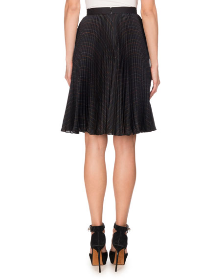 Pleated Pinstriped Skirt, Multi Pattern